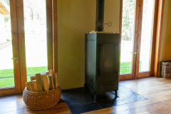 Wood stove in the hallway.