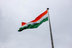 The large India flag near the Pakistan border