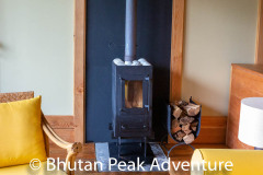 Wood stove in lodge suite