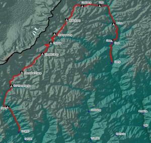Laya Gasa Trek Map