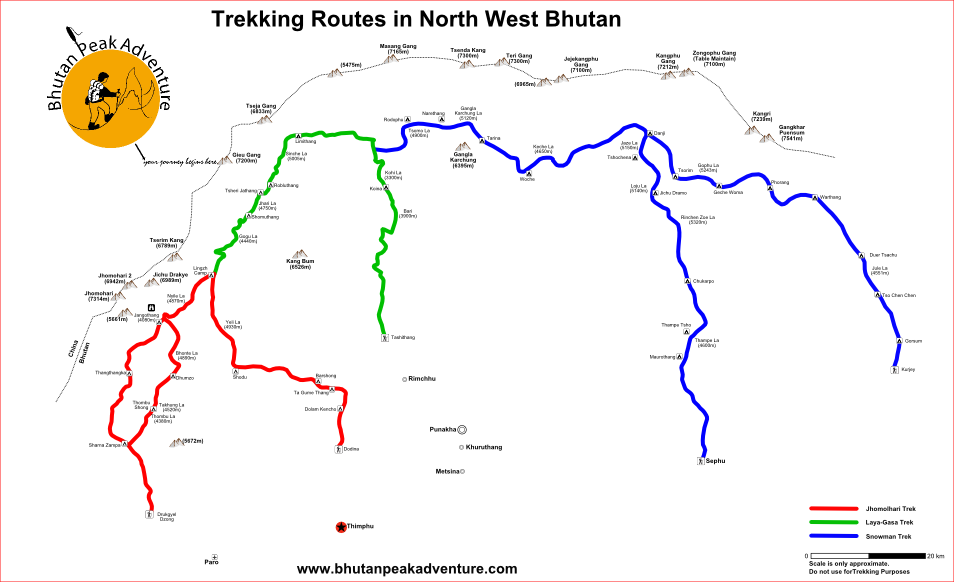 Trekking Maps Bhutan