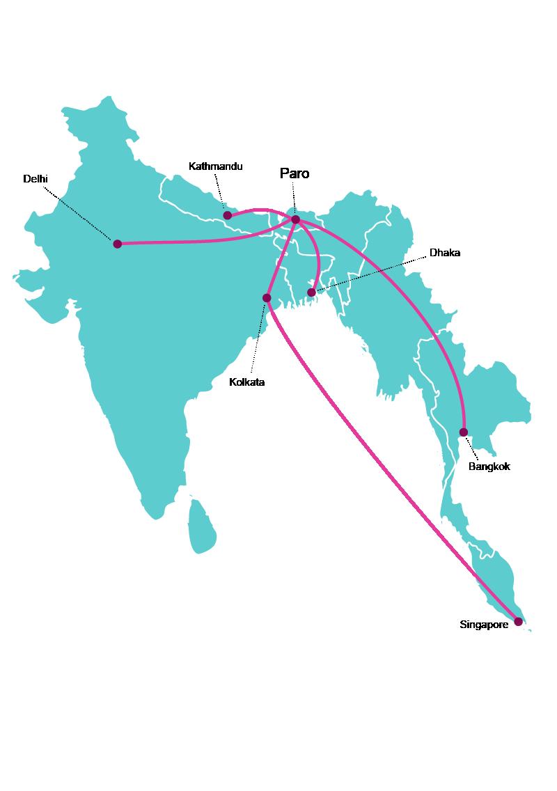 Drukair Route Map