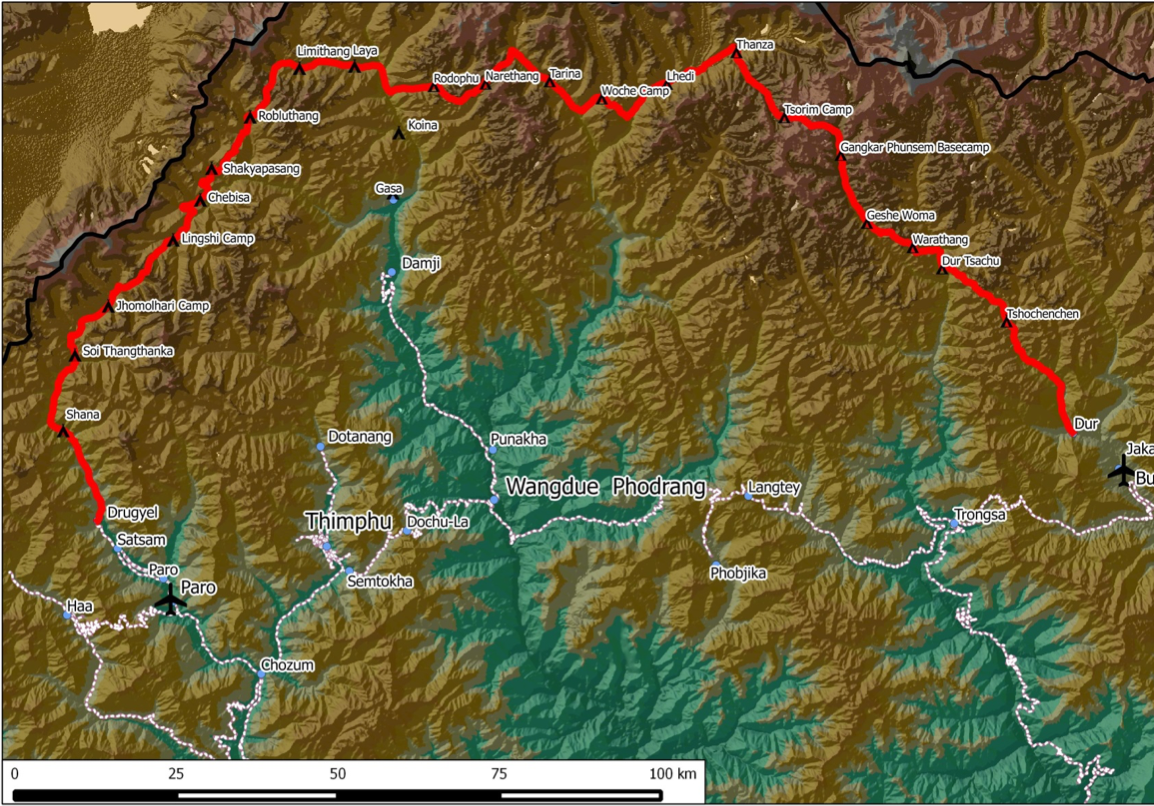 Map showing the trekking route of the snowman trek