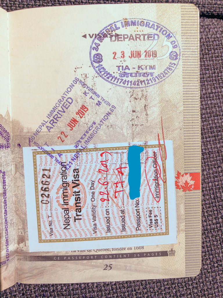 Transit visa and stamps